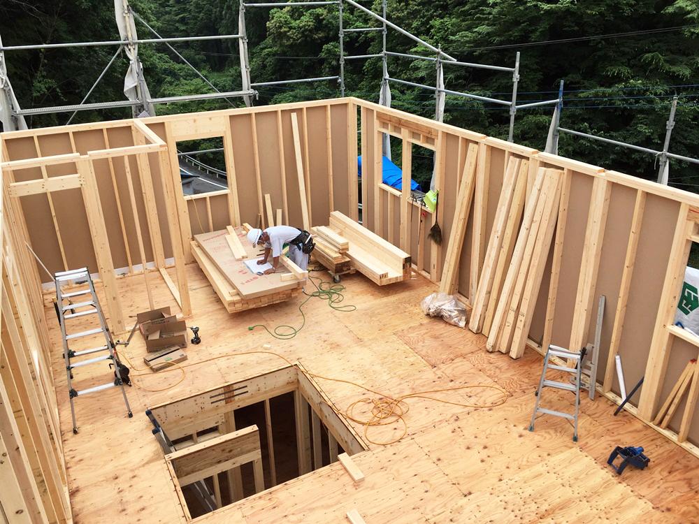西多摩郡日の出町 H様邸-建方工事-