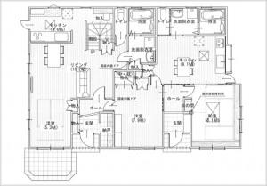 2世帯住宅1Fの図面