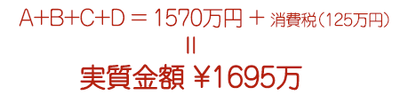 A+B+C+D=1570万+消費税(125万)=実質金額 ¥1695万