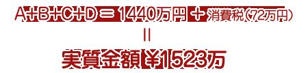 A+B+C+D=1440万+消費税(72万)=実質金額 ¥1512万